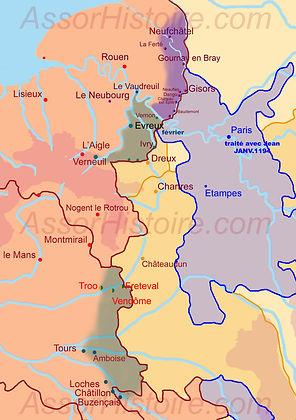 Terres accordées par Jean sans terre à Philippe Auguste par traité en janvier 1194.