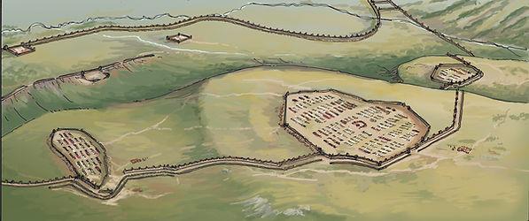 Camps_sud_siège d'Alésia avec circonvallation romaine.