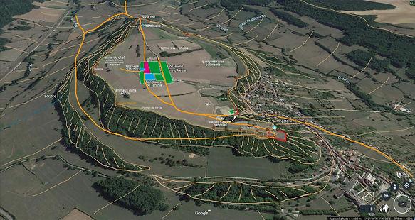 alesia, photo aérienne, vue de l'Ouest de_l'ouest annotée