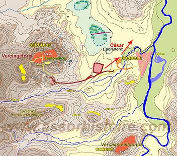 Bataille de Gergovie, César et Eporédorix quittent le grand camp.