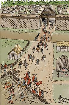 """Les derniers auxiliaires """"Romains"""" courent se refugier dans Gondole."""