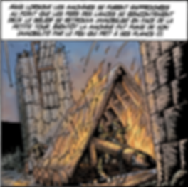 Siège de Jérusalem, l'immense bélier prend feu