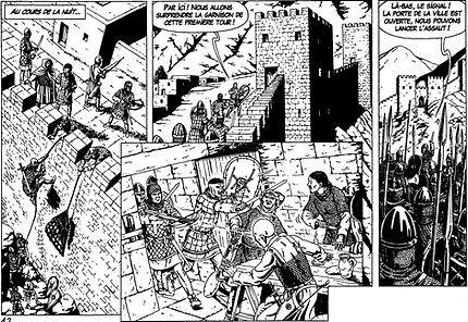 BD croisade : Prise de la tour des deux soeurs à Antioche.