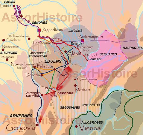 Itinéraire Gaulois, Romains et Germains entre Gergovie et Alésia.