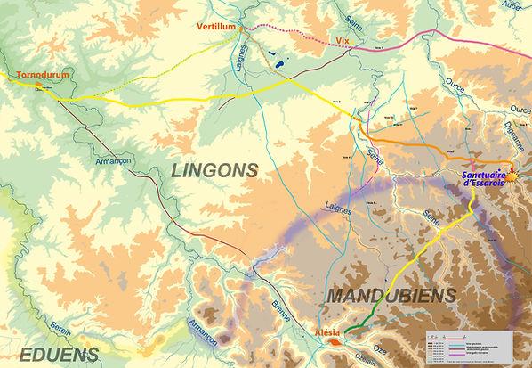 déplacement des légions romaines avant la bataille d'Alésia.