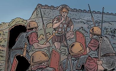 BD Gergovie, la légion VIII arrive sous les remparts sud-est de Gergovie
