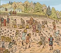 siège d'Avaricum, début de construction de la erampe romaine.
