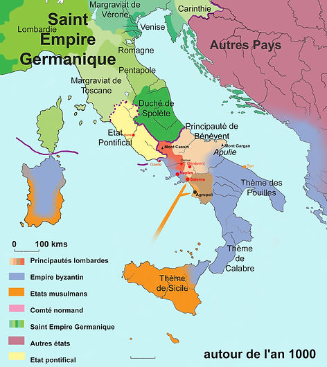 Carte italie vers l'an 1000.