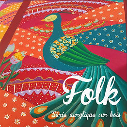 Folk Gipsy peinture artiste paon couleurs