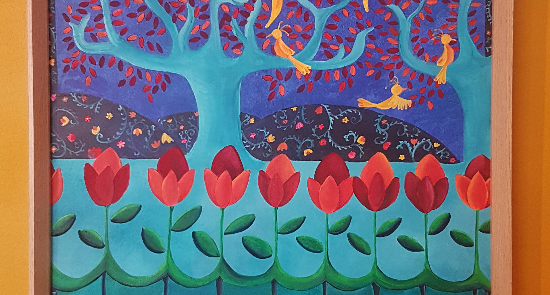 Hermana del sol - Acrylique sur panneau bois - 80x60