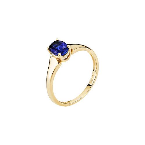 Lund Cph, Ring i 8 kt. guld med syntetisk safir (333)