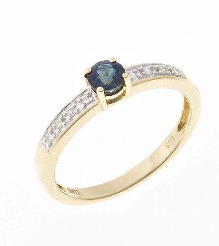 Lund Cph, Ring i 14 kt. guld med safir og diamanter (585)