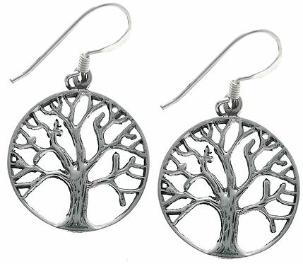 Ørehænger i sterlingsølv, livets træ (925)
