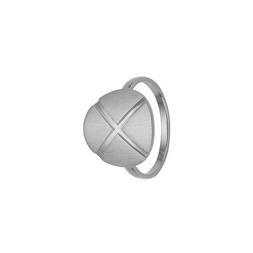 Kranz & Ziegler, Ring med X børstet overflade i sterlingsølv (925)