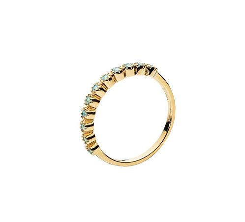 Lund Cph, Alliance ring i 8 kt. guld med blå topas (333)