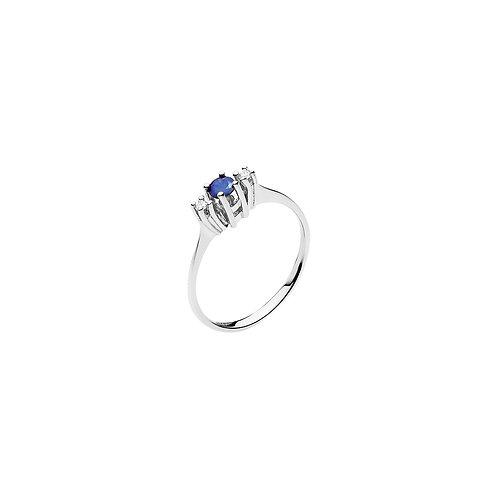 Lund Cph, Ring i 14 kt. hvidguld med safir og diamant (585)