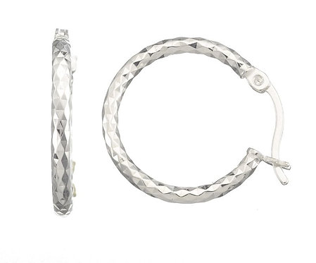 Lund Cph, Kreoler 19mm  i sterlingsølv, diamant skåret (925)