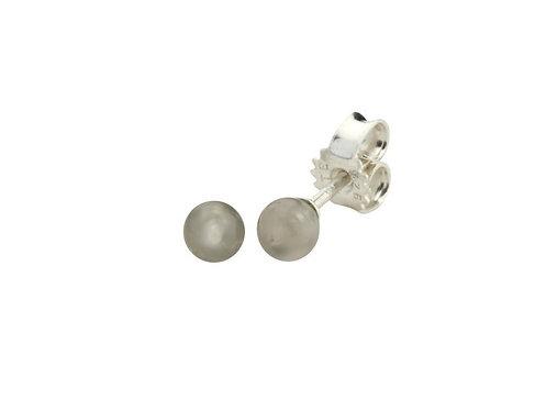 Grå Månesten kuglestikker 4 mm sterlingsølv (925)