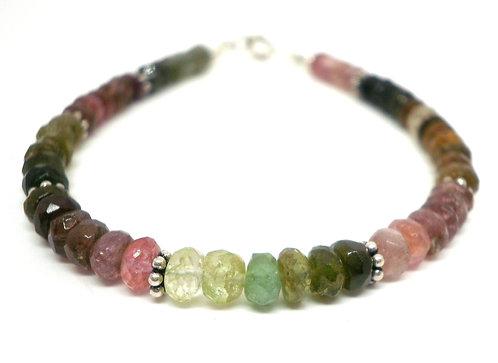 Kila Design, Armbånd med vandmelon turmalin og sterlingsølv beads (925)