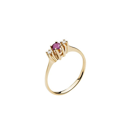 Lund Cph, Ring i 14 kt. guld med rubin og diamant (585)