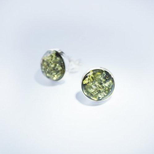 Grøn Rav ørestikker 10 mm med glat kant (925)