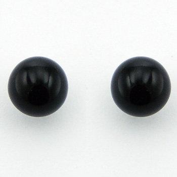 Ørestikker i sterlingsølv med kugleformet onyx (925)
