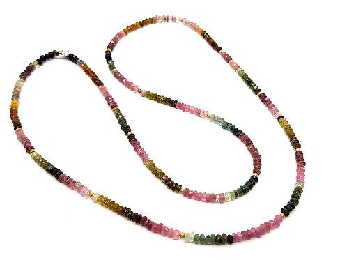 Kila Design, Halskæde med vandmelon turmalin og forgyldt sølv (925)