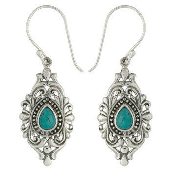 Victorian Style Turkis Øreringe  i sterling sølv
