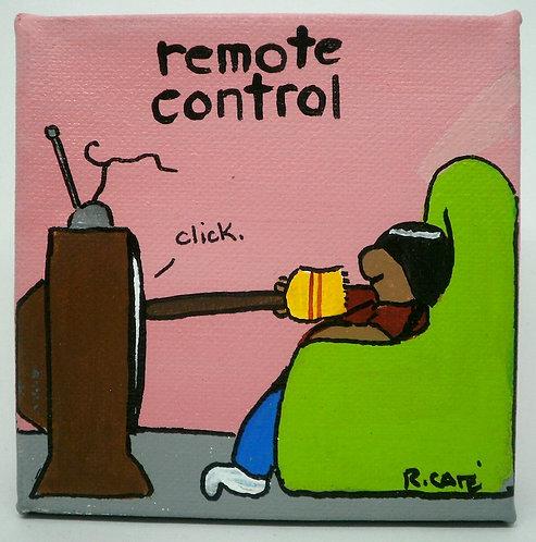 """Remote control"", Ricardo Caté maleri, 10x10cm"
