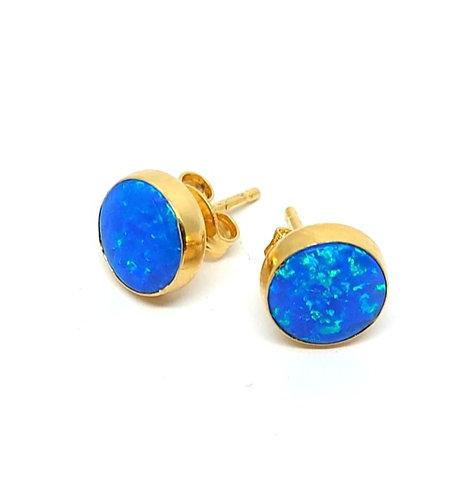 Royal Blue opal ørestikker 8 mm med glat kant (925)