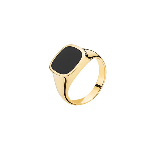 Ring med sort onyx i 8 karat