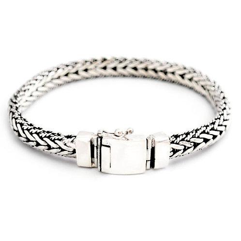 Fladt bred sildeflet armbånd i sølv