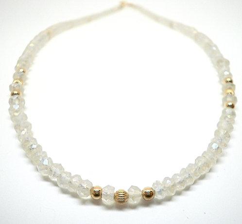 Kila Design, Halskæde med spektrolit og 14 kt. guld beads (585)