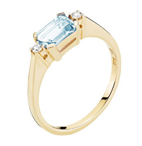 Lund Cph, Ring i 14 kt. guld med blå topas og diamanter (585)