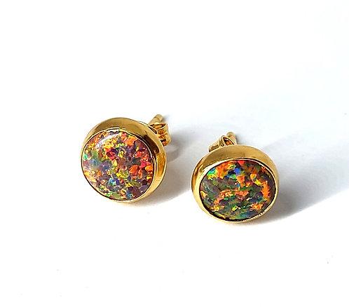 Fire opal ørestikker 4mm med glat kant (925)