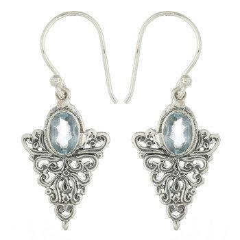 Victorian Style blå topas ørering i sterling sølv