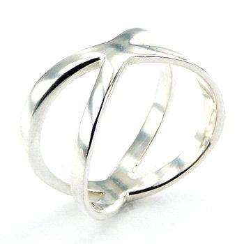 Sterlingsølv Ring Diagonal Shifted Crossing Band