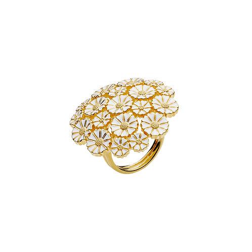 Lund Cph, Marguerit ring i 24 kt. forgyldt sølv, 25mm blomst (925)