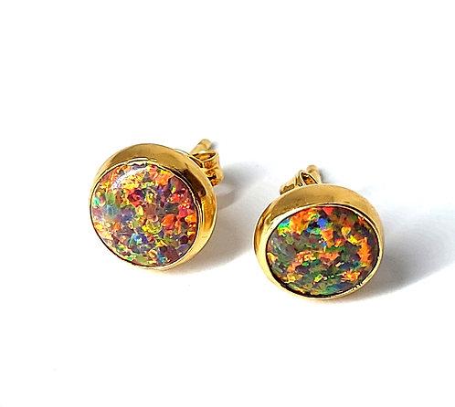 Fire opal ørestikker 5 mm med glat kant (925)