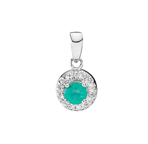 Lund Cph, Vedhæng i 8 kt. hvidguld med smaragd og diamanter, 7,5x15mm (333)