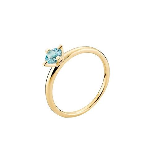 Lund Cph, Ring i 8 kt. guld med blå topas (585)