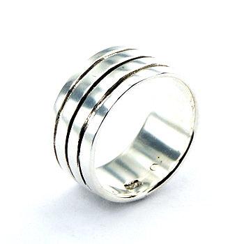 Bred 9,5mm ring i 925 sterling sølv