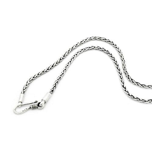 Kæde i sølv med kroglås, håndlavet, Dragonbone 3mm bred