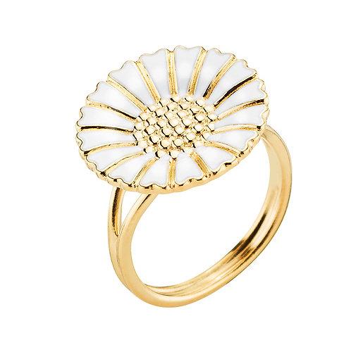 Lund Cph, Marguerit ring i forgyldt sølv, 18mm blomst (925)