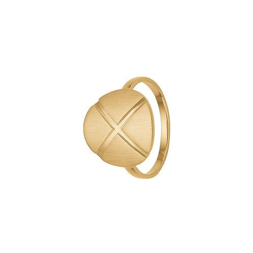 Kranz & Ziegler, Ring med X børstet overflade i forgyldt sterlingsølv (925)