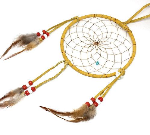 Drømmefanger hjorteskind med rød/hvid glasperler