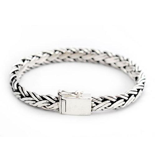 Fladt bred flet sølv armbånd