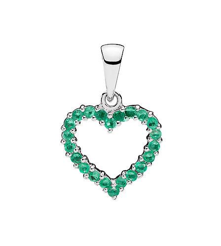 Lund Cph, Vedhæng i 8 kt. hvidguld med smaragd, hjerteformet, 10x12 mm (333)