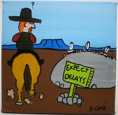 """""""Expect delays"""", Ricardo Caté maleri, 10x10cm"""