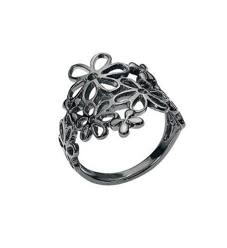 Lund Cph, Ring i rhodineret sterlingsølv, blomster (925)